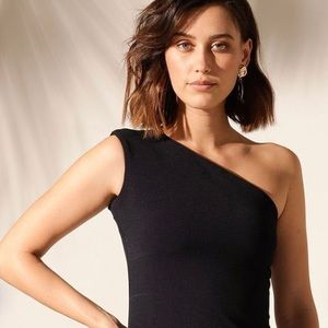 3/$25 RUBICON black one shoulder fitted top